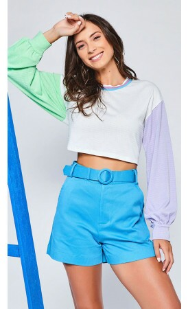 Blusa Cropped Tricolor Lov.it atacado