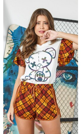 T-Shirt Urso Manga Xadrez lov.it atacado